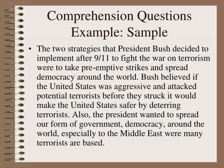 Comprehension Questions Example: Sample
