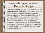 comprehension questions example sample