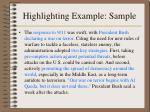 highlighting example sample