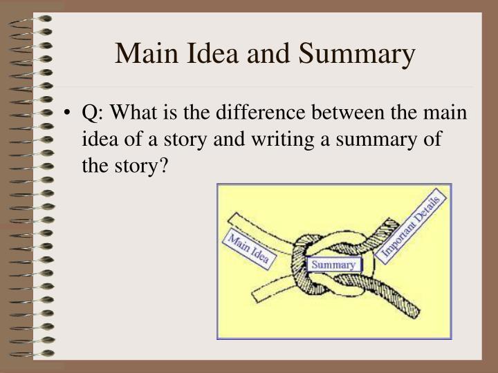 Main Idea and Summary