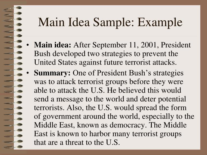 Main Idea Sample: Example