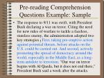 pre reading comprehension questions example sample