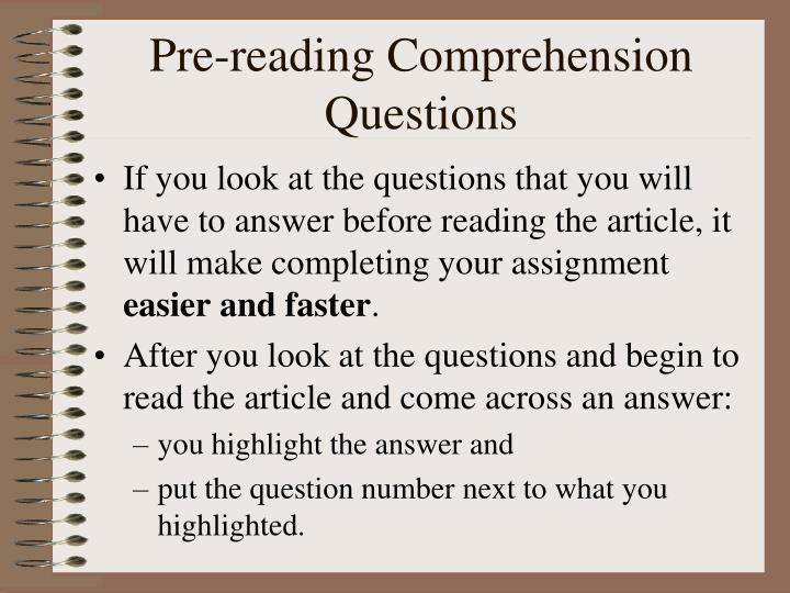 Pre-reading Comprehension Questions