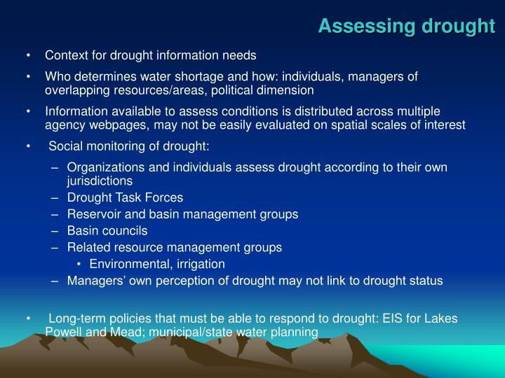 Assessing drought