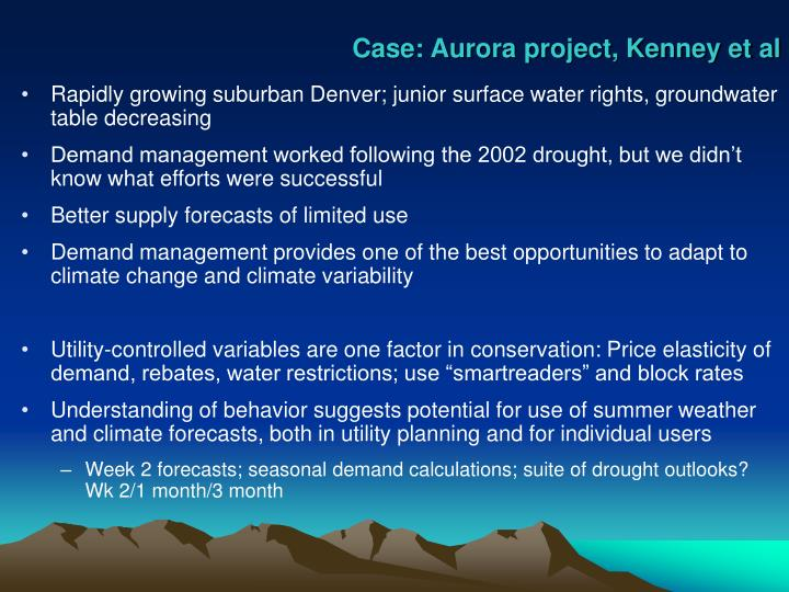 Case: Aurora project, Kenney et al
