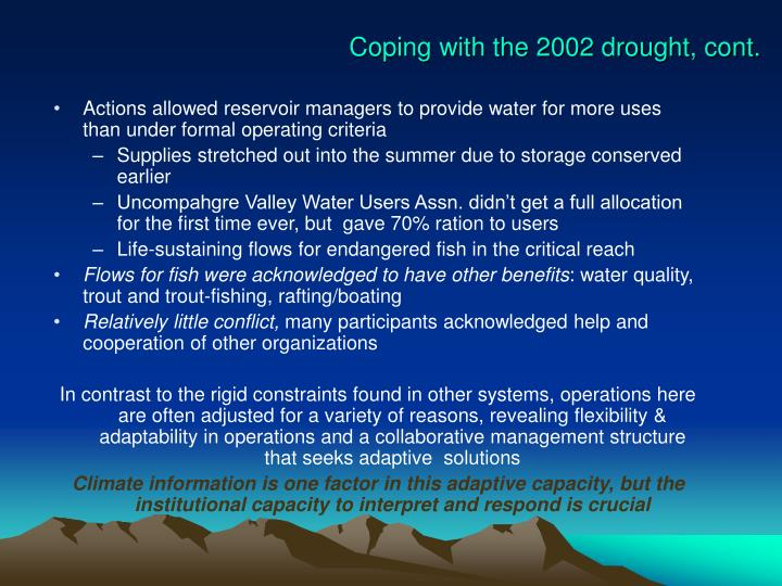 Coping with the 2002 drought, cont.