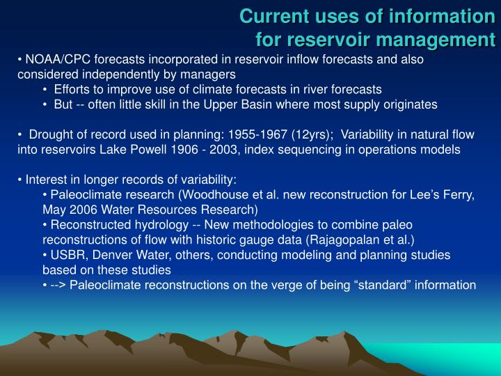 Current uses of information