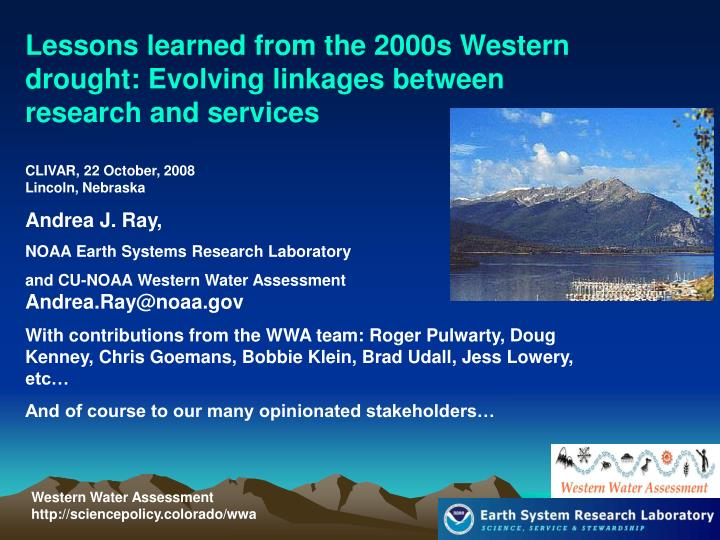 Lessons learned from the 2000s Western drought: Evolving linkages between research and services