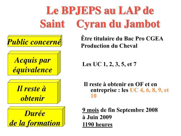 Le BPJEPS au LAP de Saint Cyran du Jambot