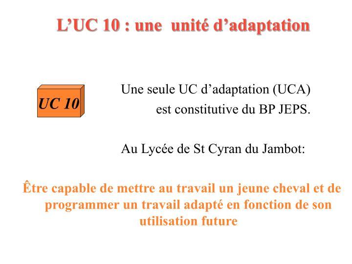 L'UC 10: une  unité d'adaptation