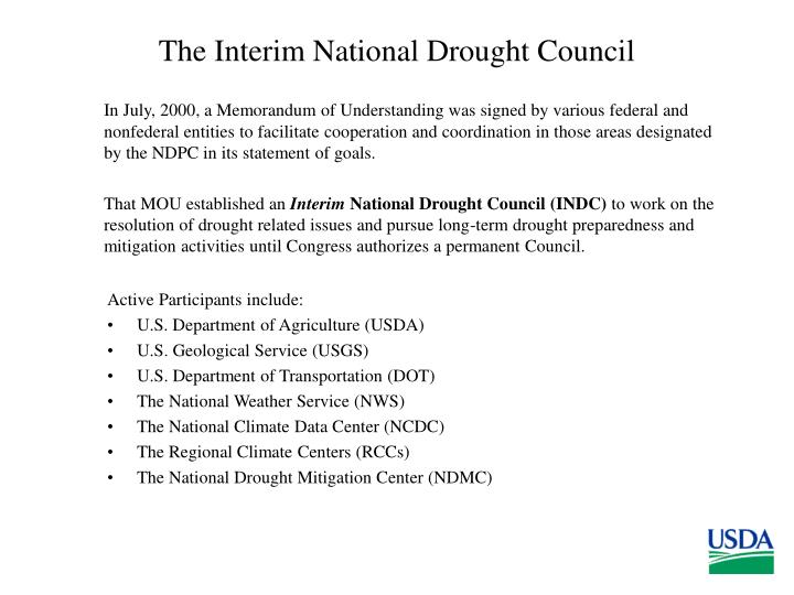 The Interim National Drought Council