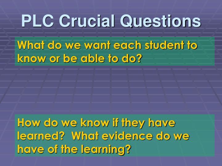 PLC Crucial Questions