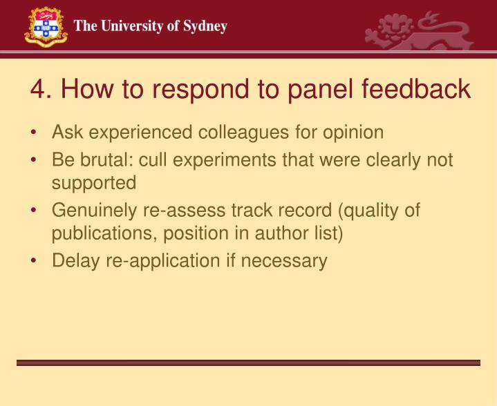 4. How to respond to panel feedback