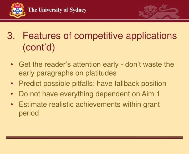 Features of competitive applications