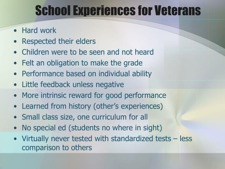 School Experiences for Veterans