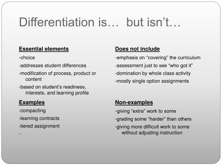 Differentiation is…  but isn't…