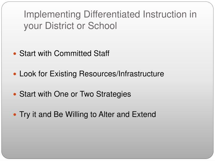 Implementing Differentiated Instruction in your District or School