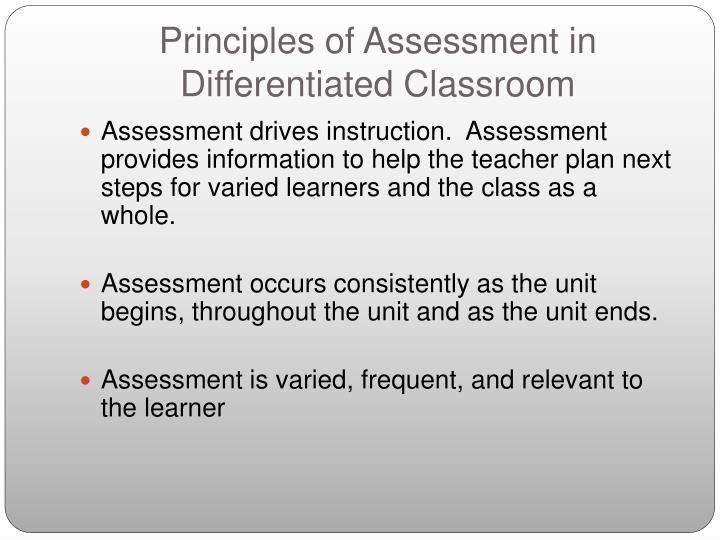 Principles of Assessment in Differentiated Classroom