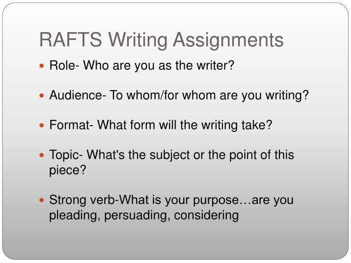 RAFTS Writing Assignments