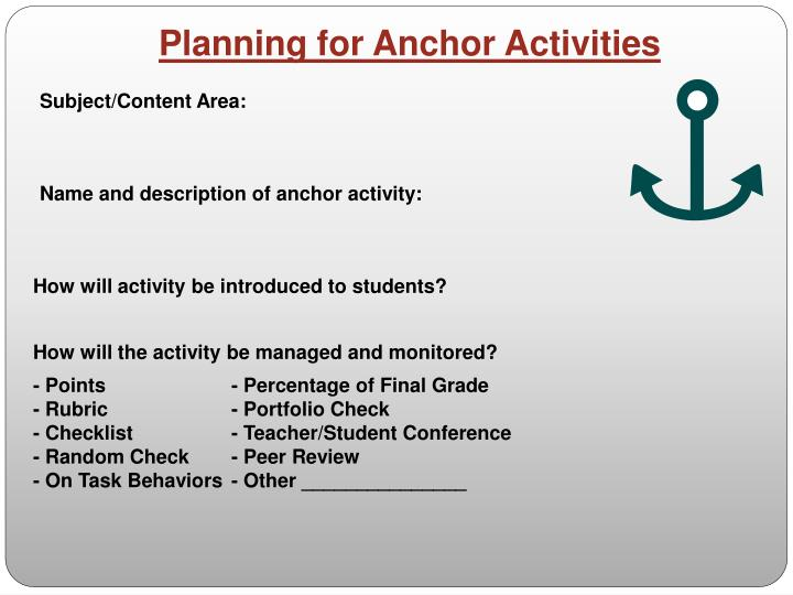 Planning for Anchor Activities