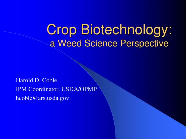 crop biotechnology a weed science perspective