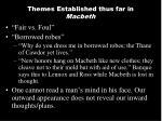 themes established thus far in macbeth
