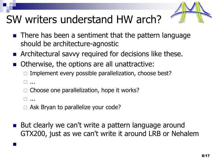 SW writers understand HW arch?