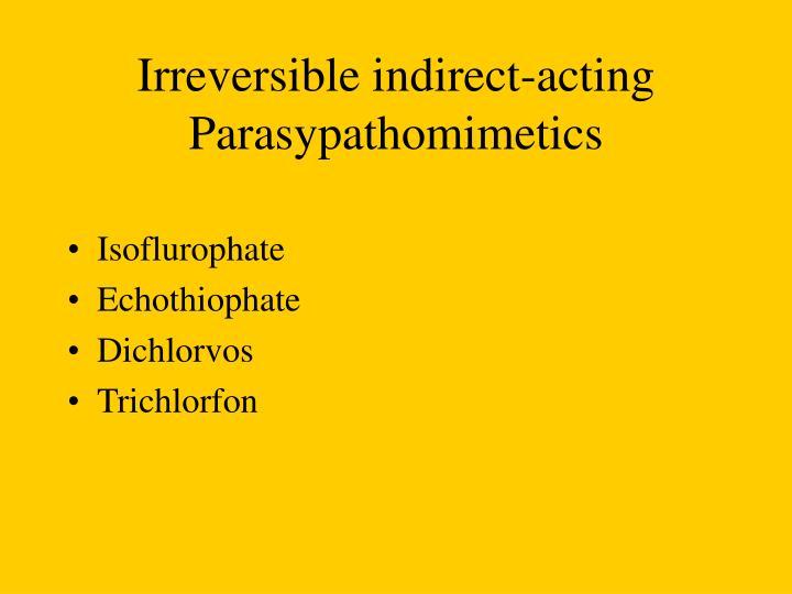 Irreversible indirect-acting Parasypathomimetics