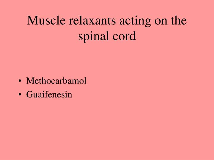 Muscle relaxants acting on the spinal cord