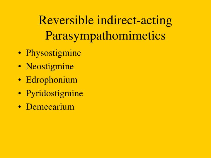 Reversible indirect-acting Parasympathomimetics