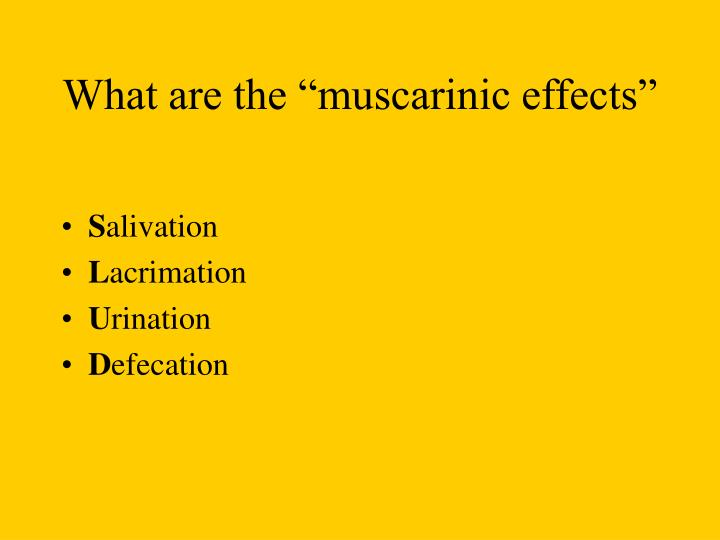 """What are the """"muscarinic effects"""""""