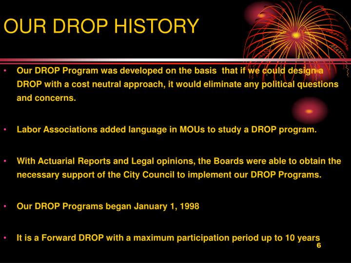 OUR DROP HISTORY