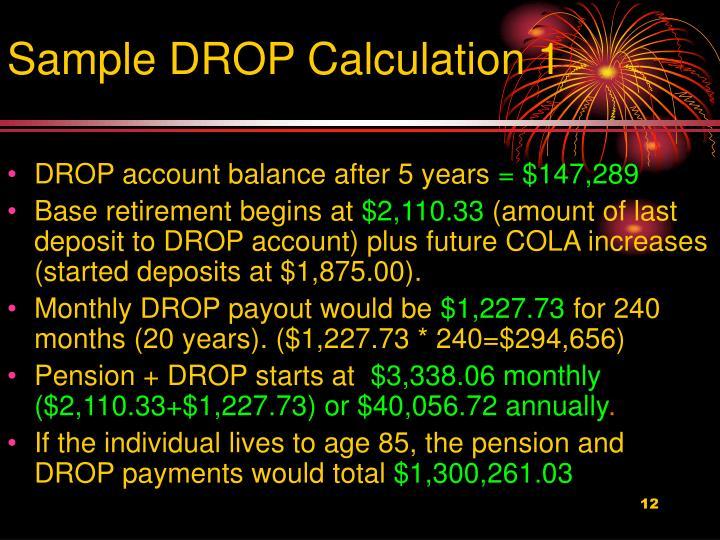 Sample DROP Calculation 1