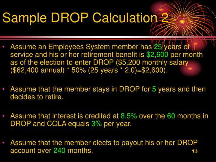 Sample DROP Calculation 2