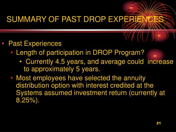 SUMMARY OF PAST DROP EXPERIENCES