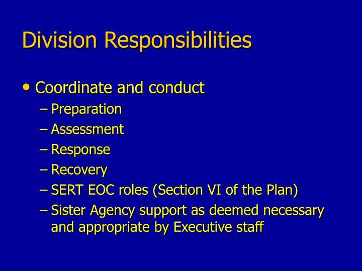 Division Responsibilities