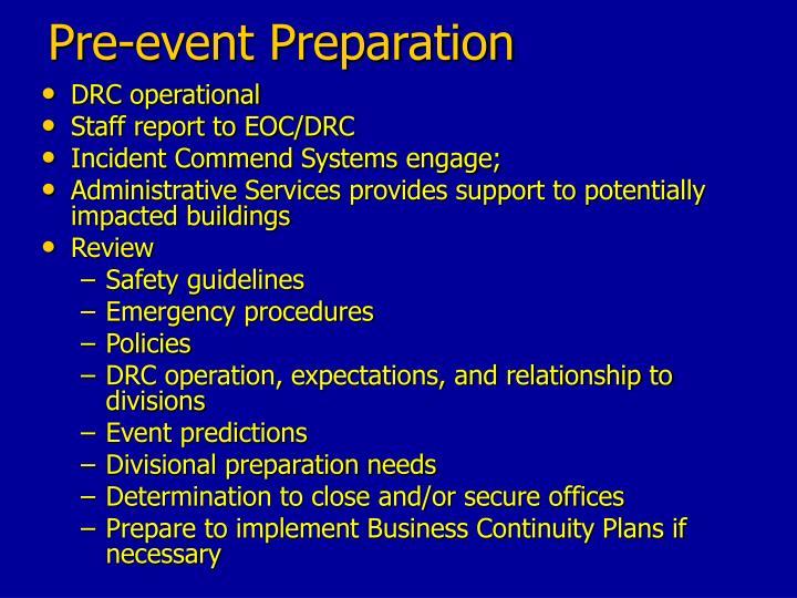 Pre-event Preparation