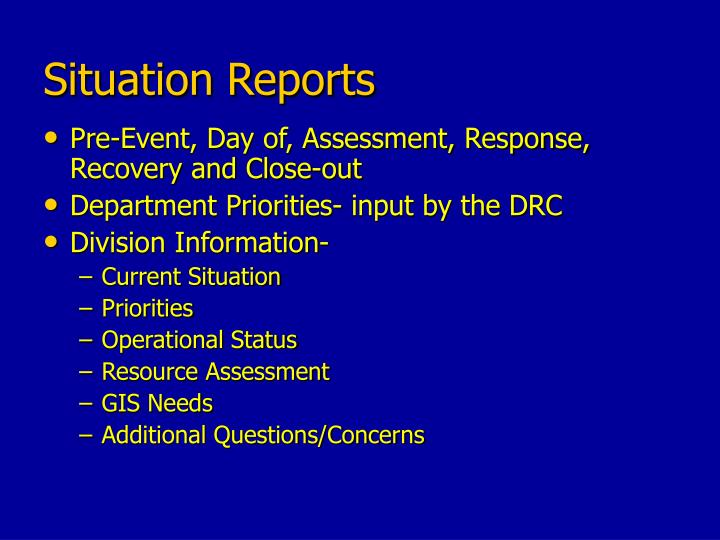 Situation Reports