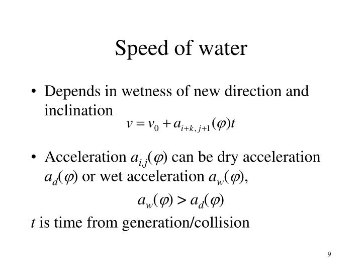 Speed of water