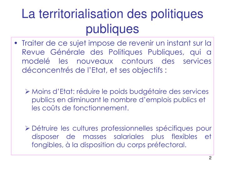 La territorialisation des politiques publiques