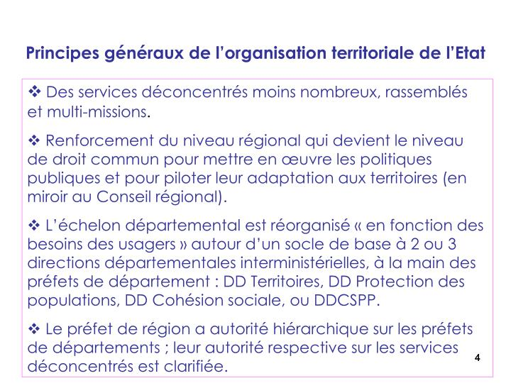 Principes généraux de l'organisation territoriale de l'Etat