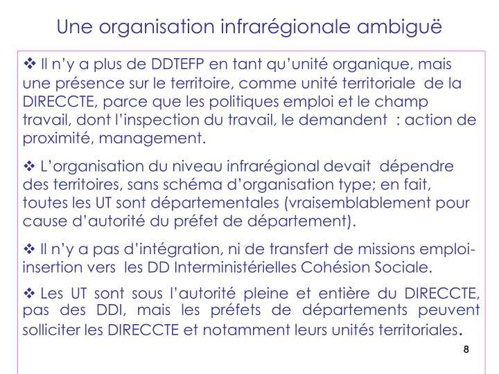 Une organisation infrarégionale ambiguë