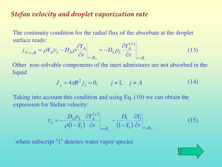 Stefan velocity and droplet vaporization rate
