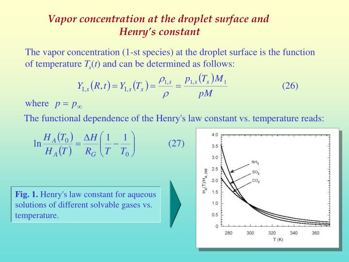 Vapor concentration at the droplet surface and