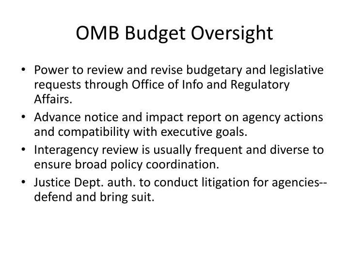 OMB Budget Oversight