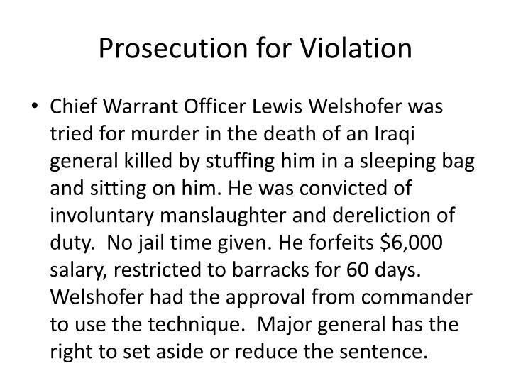 Prosecution for Violation