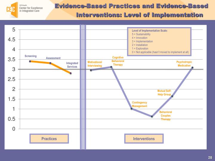 Evidence-Based Practices and Evidence-Based Interventions: Level of Implementation