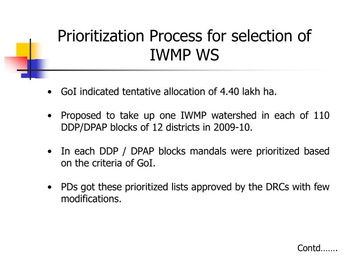Prioritization Process for selection of IWMP WS