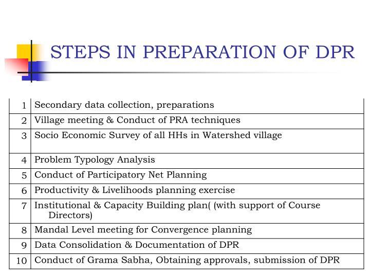 STEPS IN PREPARATION OF DPR