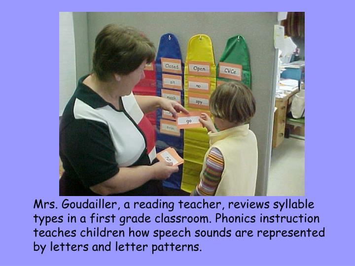 Mrs. Goudailler, a reading teacher, reviews syllable types in a first grade classroom. Phonics instruction teaches children how speech sounds are represented by letters and letter patterns.